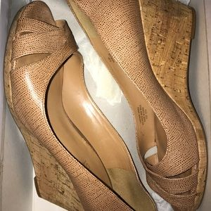 Nine West Tan Leather Wedges 8.5 GUC
